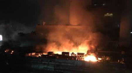 mumbai fire photos, cinevista studio fire images, latest mumbai fire pics, studio fire pictures, cinevista mumbai blaze, mumbai fire latest photos, indian express