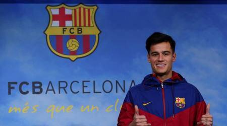 Coutinho at his unveiling for photographs at FC Barcelona
