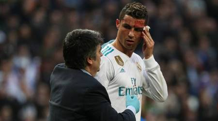 Bloodied Cristiano Ronaldo scores twice in Real Madrid rout