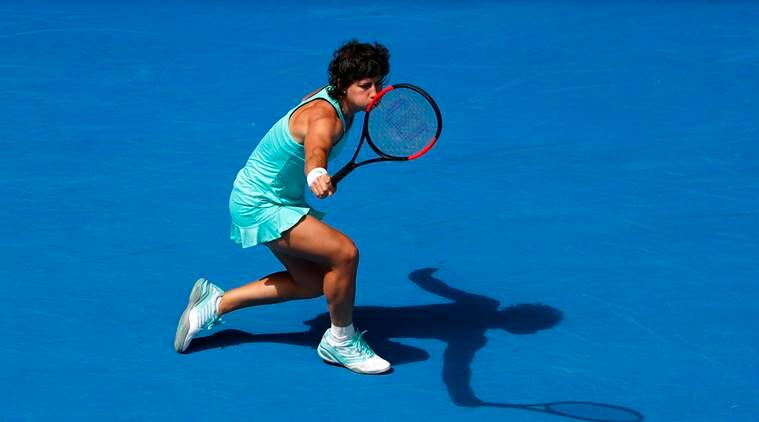 Carla Suarez Navarro of Spain with her one handed backhand at Australian Open