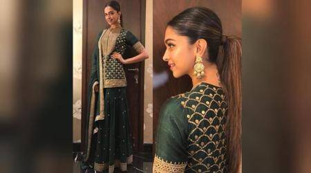 Deepika Padukone is elegance personified in Sabyasachi's sea green sharara