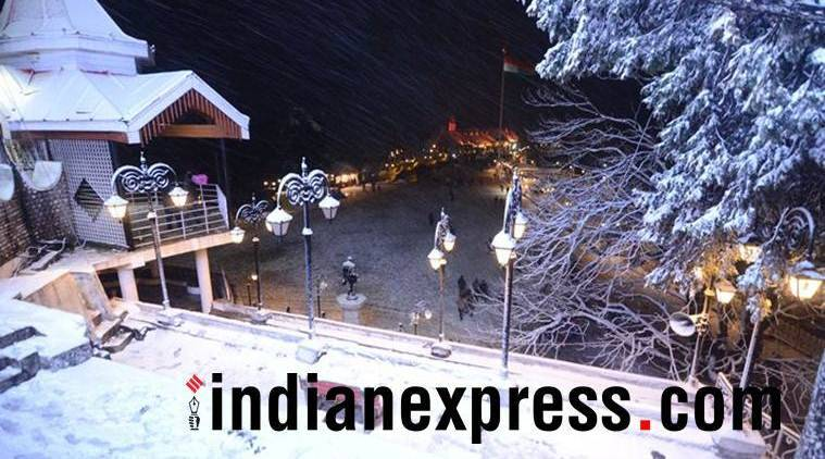Delhi rainfall, Delhi light rainfall, Shimla snowfall, snowfall in Shimla, Shimla rainfall, India News, Indian Express, Indian Express News