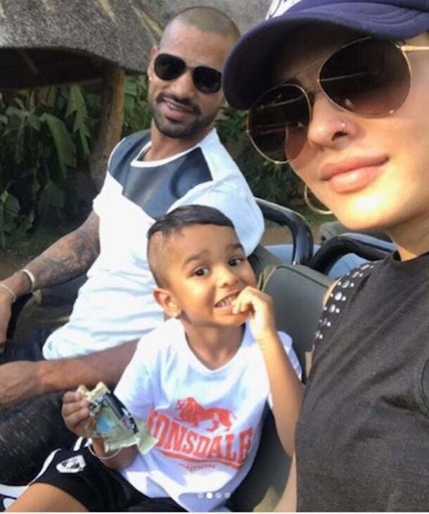 Shikhar Dhawan with wife Ayesha and son