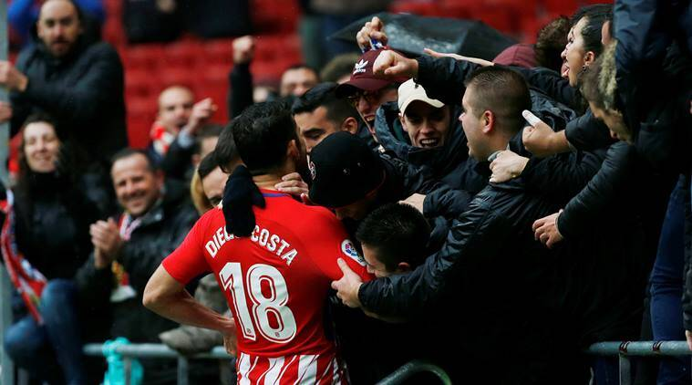 Diego Costa was sent off for Atletico Madrid against Getafe