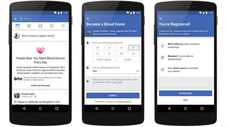 Facebook blood donations feature, Facebook blood donor registrations, Legendary Blood Donors Camp, Facebook community building, NTR Trust, voluntary blood donations, Facebook social initiatives, Federation of Indian Blood Donors, blood camps