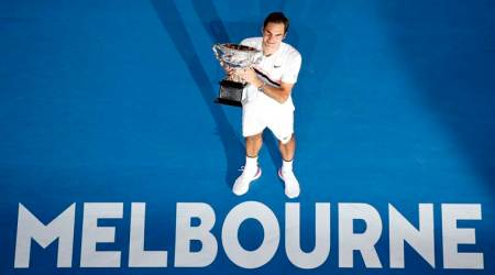 Roger Federer with the Australian Open title