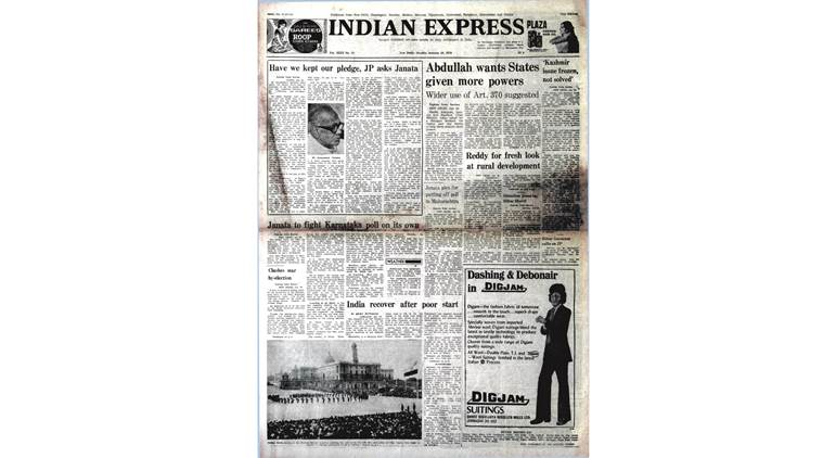 forty years ago, january 30 1979, sheikh abdullah, jk cm, jayaprakash narayan, old rare indian express newspaper, indian express