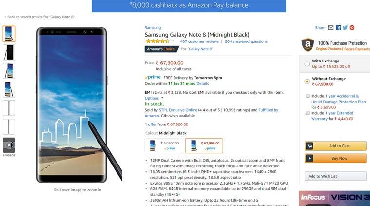 Samsung, Samsung Galaxy Note 8, Galaxy Note 8 cashback, Galaxy Note 8 discount, Galaxy Note 8 features, Galaxy Note 8 price, Galaxy Note 8 price in India