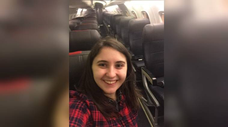 girl alone in a flight, a girl got a whole flight for travelling, indian express, indian express news, flight stories, weird flight stories, social media viral