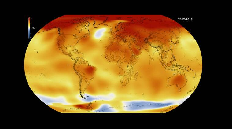 Average global temperatures, climate change, global warming, University of Arizona, heat waves, droughts, floods, El Nino, polar ice cap melt, coral bleaching, Pacific Ocean