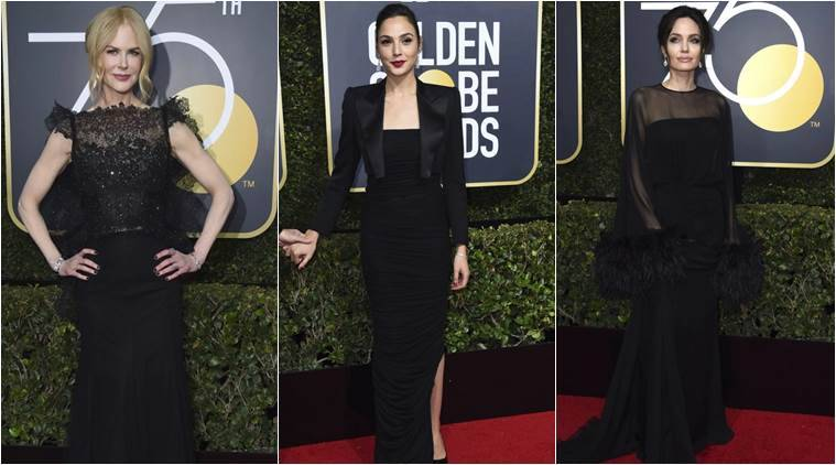 golden globes 2018 stars say �time�s up� wearing black on