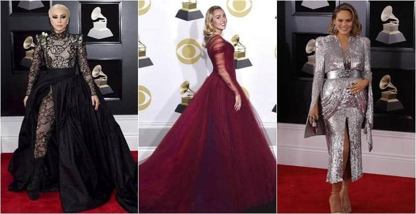 60th annual Grammy awards, 60th annual Grammy awards fashion, 60th annual Grammy awards best dressed, 60th annual Grammy awards worst dressed, Miley Cyrus, Miley Cyrus fashion, Lady Gaga, Lady Gaga fashion, Chrissy teigen, rihanna, pink, Lana Del Rey, Maren Morris , Joy Villa, indian express, indian express news
