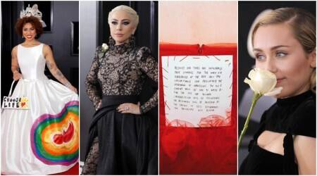 grammy awards 2018, grammys, grammy awards white rose, grammys, grammys 2018, grammy awards MeToo, Grammy Awards social statements, Grammy awards outfits for TImesUp, Indian Express, Indian Express news