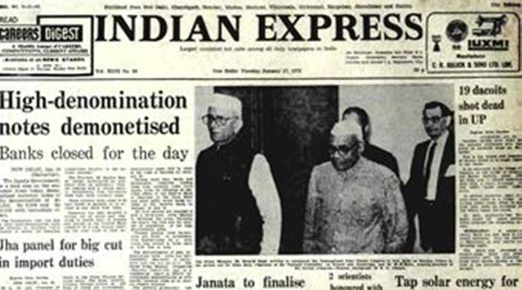 Express front page, forty years ago, Janata government, demonetisation, demonetised notes, editorial news, indian express, indian express news