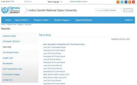 IGNOU December 2017 exam: Term end result released at ignou.ac.in