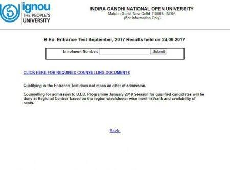 IGNOU B.Ed entrance exam 2018 result out at ignou.ac.in