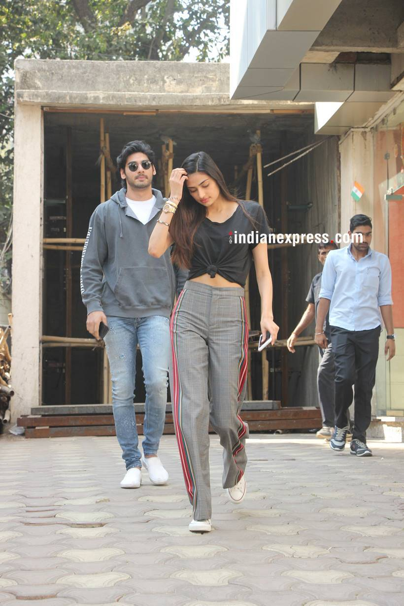 Athiya Shetty was clicked spending time with Ahan Shetty