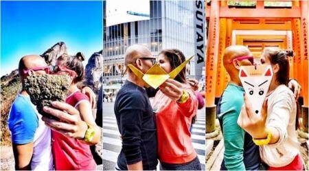 Couple travel around the world, seal their happy moments with kissing pictures