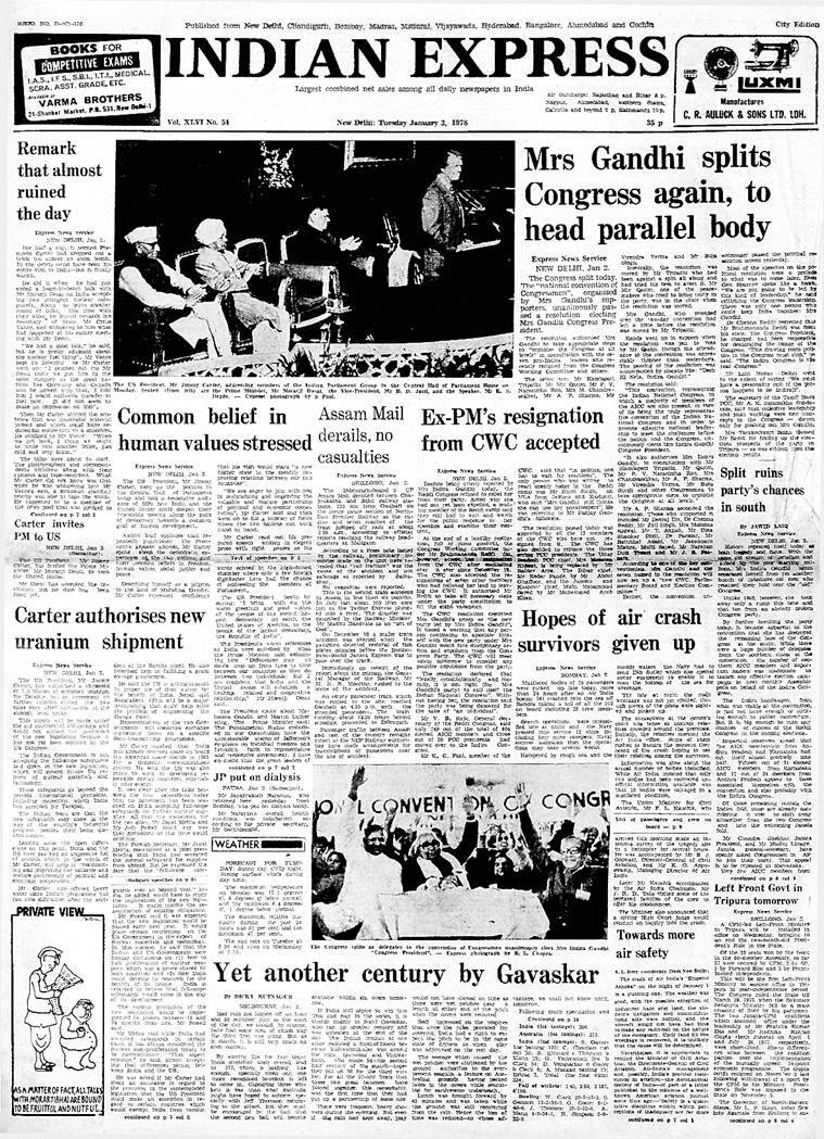 forty years ago, january 3 1978, jimmy carter in indian parliament, old rare indian express newspapers, congress 1978 split, cwc, aicc, left govt in tripura, air india crash emperor ashoka, indian express