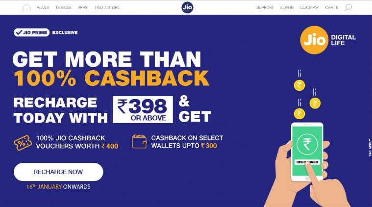 Reliance Jio Jio recharge Jio more than 100 percent cashback offer Jio cashback offer Jio more than 100% cashback How to get Jio cashback how to get Jio cashback Jio recharge cashback