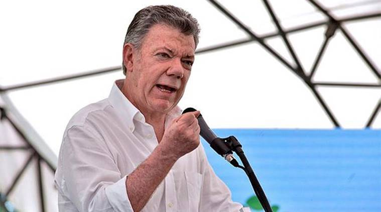 Colombian President Juan Manuel Santos, Juan Manuel Santos, Colombia Peace Talks, National Liberation Army, World News, Latest World News, Indian Express, Indian Express News