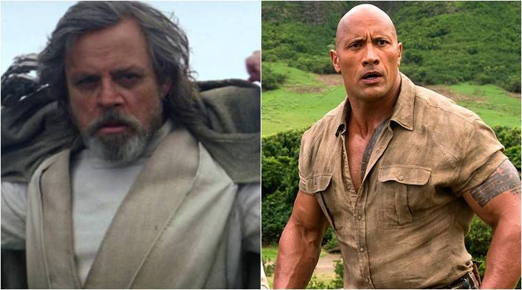 "Luke Skywalker just managed to hold off Dwayne ""The Rock"" Johnson as the world rang in another year"
