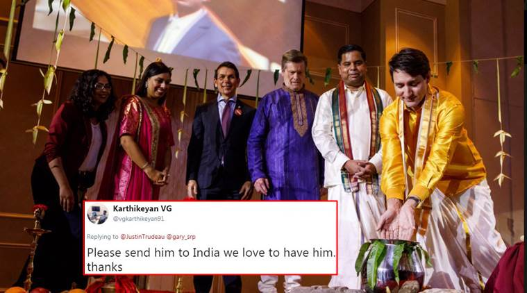 Justin Trudeau, Justin Trudeau pongal celebration, justin trudeau wearing veshti, justin trudeau wearing veshti photos, indian express, indian express news