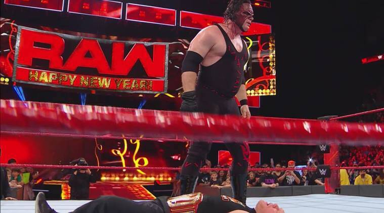 Kane delivered a chokeslam to Brock Lesnar on WWE Raw