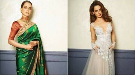 Kangana Ranaut looks fashionably feisty in a Kanjeevaram sari and tulle gown