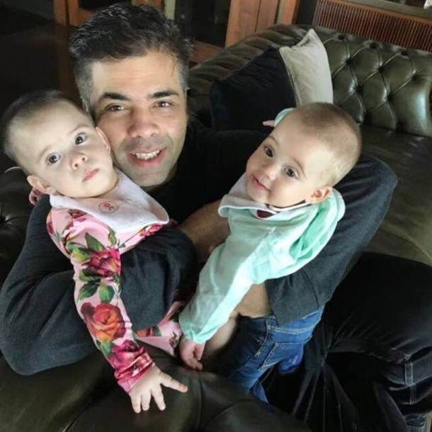 karan johar twitter profile photo with kids yash and roohi