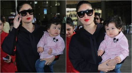 Classy in blue and cute in stripes: Kareena and Taimur grab all the attention at the airport