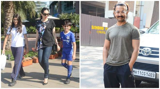 Celeb spotting: From Aamir Khan's casual look to Karisma Kapoor's day out with kids