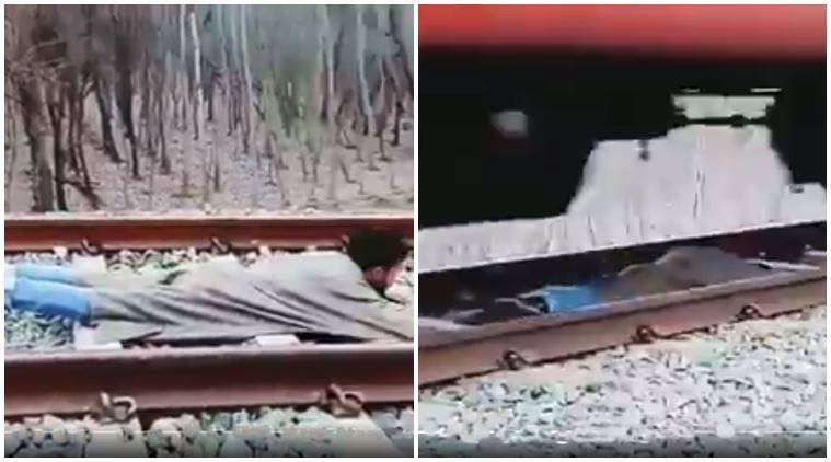 kashmiri man, kashmir man, train stunt, viral train stunt, train video goes wrong, kashmir man train video, omar abdullah, indian express, indian express news