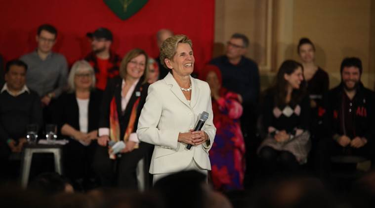 Genial Kathleen Wynne During A Town Hall In Ottawa. (Source: Twitter/Kathleen  Wynne)