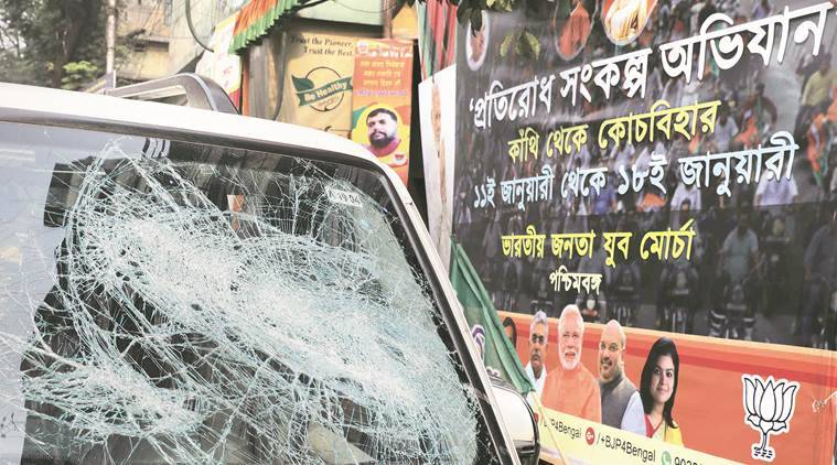 BJYM, BJYM rally, BJYM bike rally, west bengal, west bengal violence, TMC-BJP, TMC government, West Bengal news, indian express news