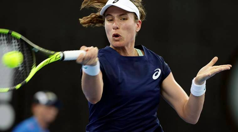 Johanna Konta of Britain in action at Brisbane International