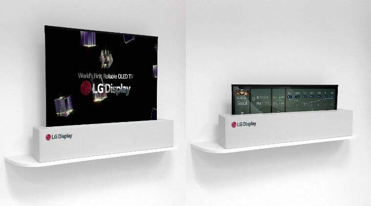 LG 65-inch rollable OLED TV, LG foldable TV CES 2018, LG 65-inch UHD OLED TV, LG display, CES 2018, LG CES 2018, LG OLED TV CES 2018, LG, OLED TVs