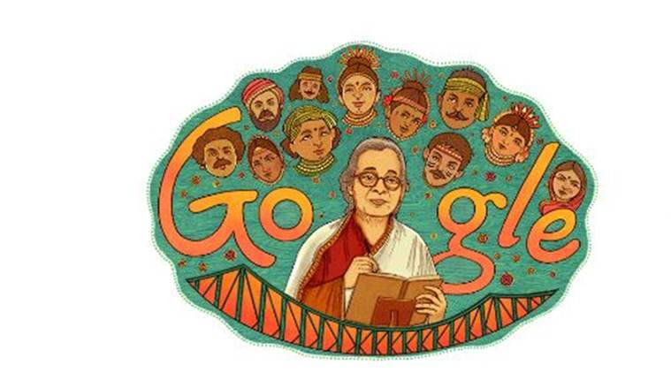 mahasweta devi google doodle, mahasweta devi bith anniversary, mahasweta devi, mahasweta devi books, mahasweta devi works, mahasweta devi news, india news, indian express, indian express news