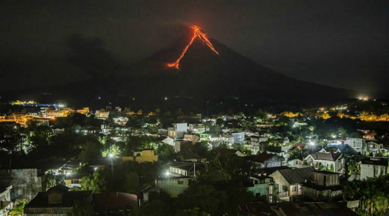 Lava Fountain Spews From Mayon Volcano