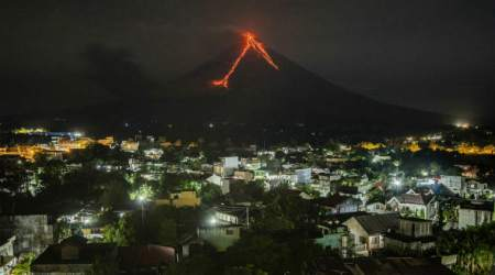 Philippines' Mount Mayon volcano explodes, villagers flee back to shelters