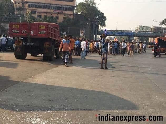 mumbai, mumbai bandh, mumbai rasta roko, battle of koregaon, koregaon bhima, pune, dalit, dalit protests, jignesh mevani, maratha protests, mumbai bandh photos, indian express, mumbai news
