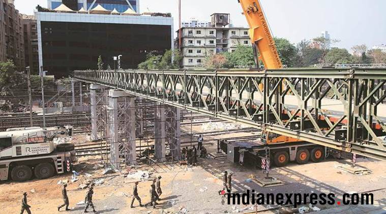 foot overbridge construction at Parel-Elphinstone Road stations