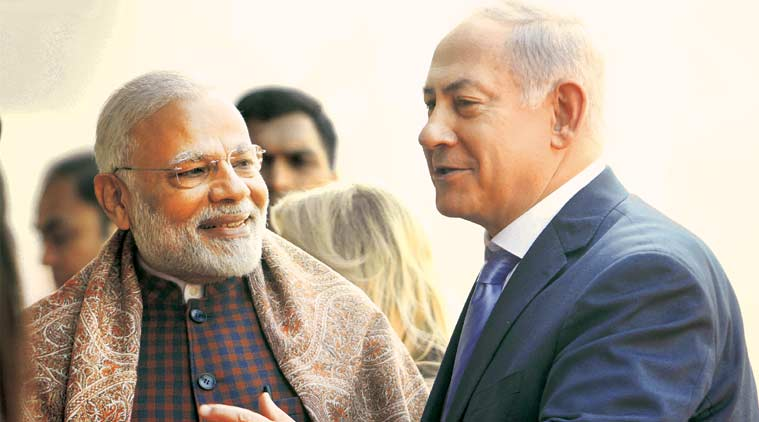 Benjamin Netanyahu, Israel, PM Narendra Modi, India israel defence, India Israel meeting, Modi Netanyahu joint address, Benjamin Netanyahu india visit, Indian Express, Indian Express News