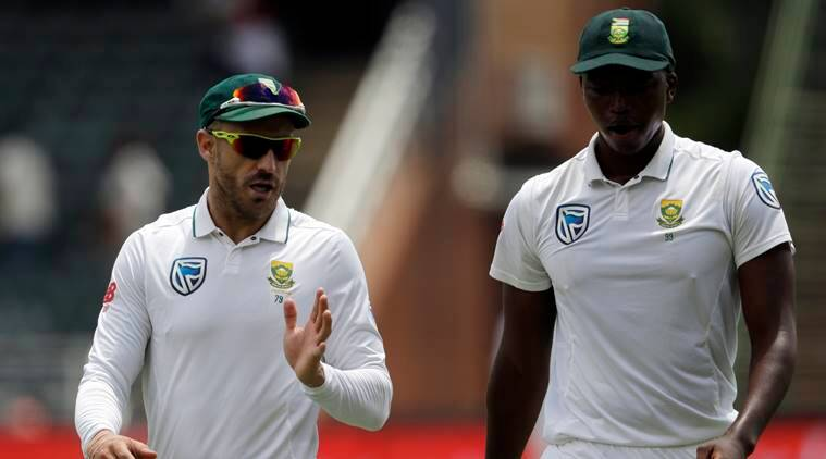 Lungi Ngidi with South Africa captain