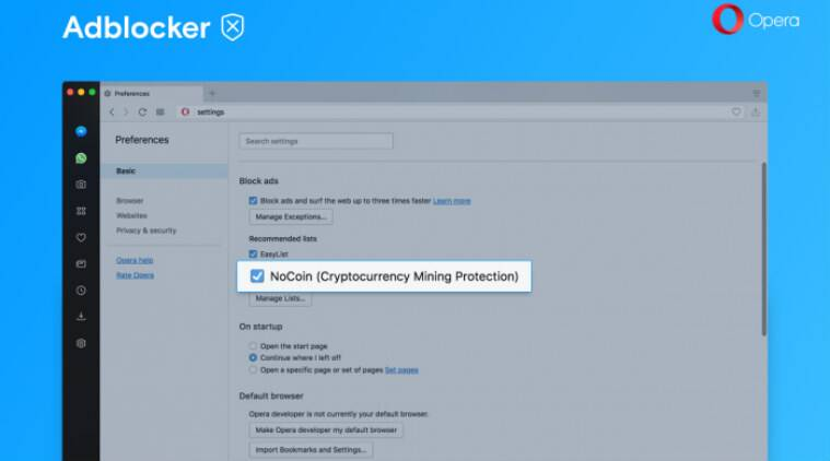 Opera Browser for Android adds cryptocurrency miner protection