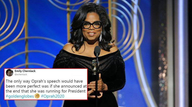 Golden Globe, Golden Globes award, Golden Globe 2018, celebrities at golden globe, oprah winfrey's speech at golden globes, twitter reactions, indian express, indian express news