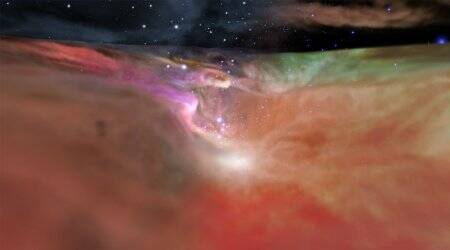 NASA fly-by video, Orion Nebula, NASA Orion Nebula video, Hubble Space telescope, Space Telescope Science Institute, Spitzer telescope, Infrared Processing and Analysis Center, Trapezium star cluster