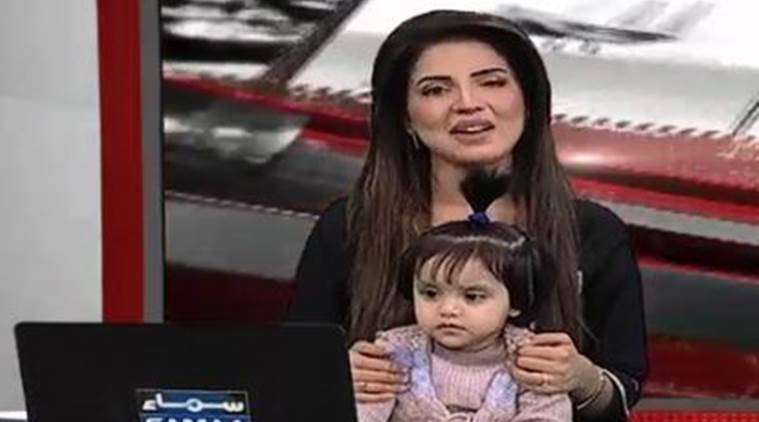 Pakistan, Pakistan news anchor, Pakistan anchor baby, Zainab Ansari, Pakistan protests, Pakistan news, Indian Express