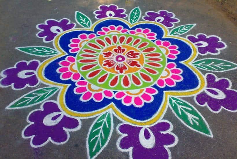 pongal, pongal designs, pongal rangoli designs, pongal colourful rangoli, pongal flower rangoli, pongal celbrations, indian express, indian express news