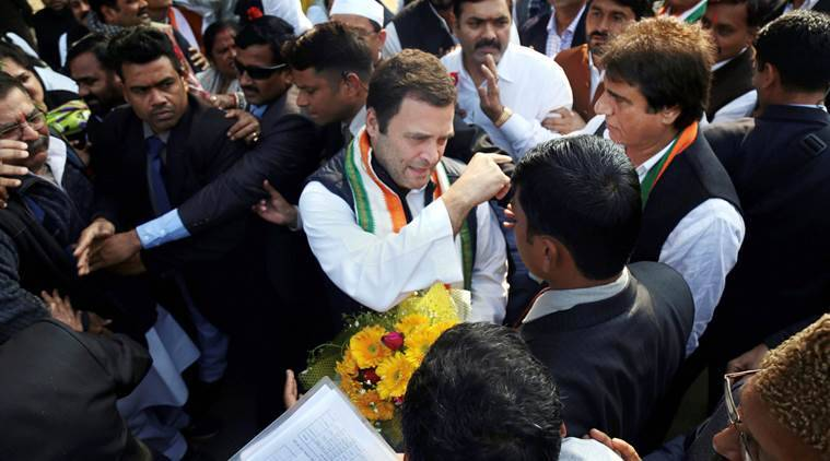 Rahul slams BJP on first UP tour as Cong chief